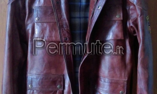 giaccone pelle tipo Belstaff